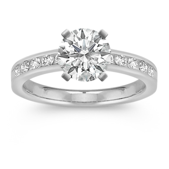 Classic Round Diamond Engagement Ring with Channel-Setting