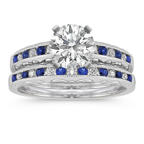 Vintage Sapphire and Diamond Wedding Set with Channel-Setting