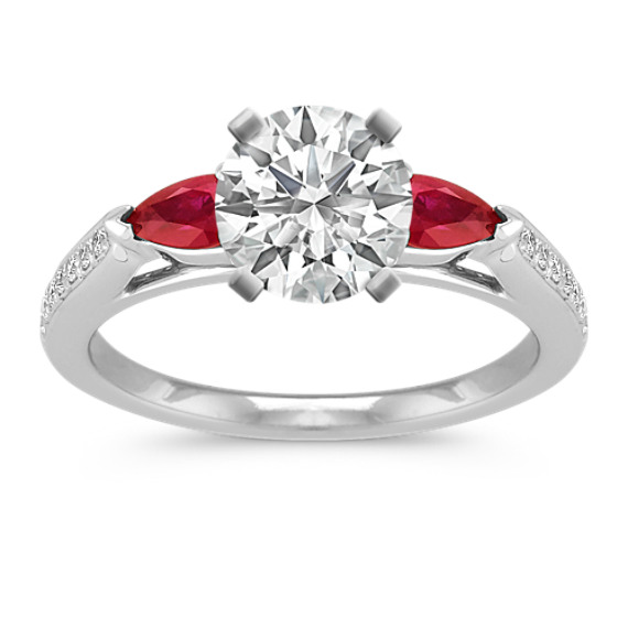 Pear-Shaped Ruby and Round Diamond Engagement Ring with Pave-Setting