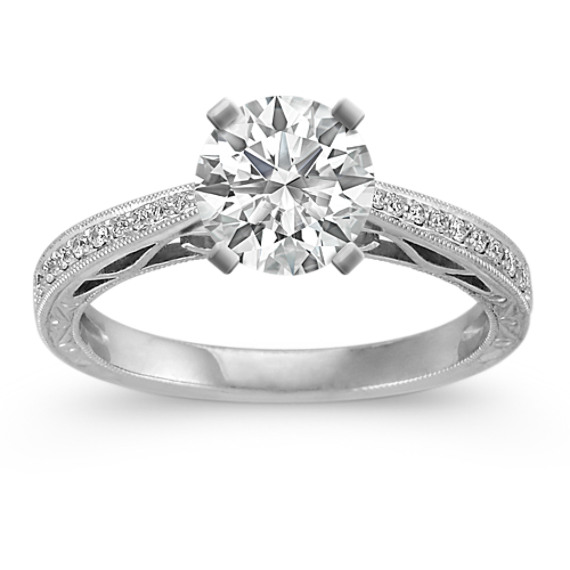 Vintage Cathedral Diamond Platinum Engagement Ring with Pave-Setting