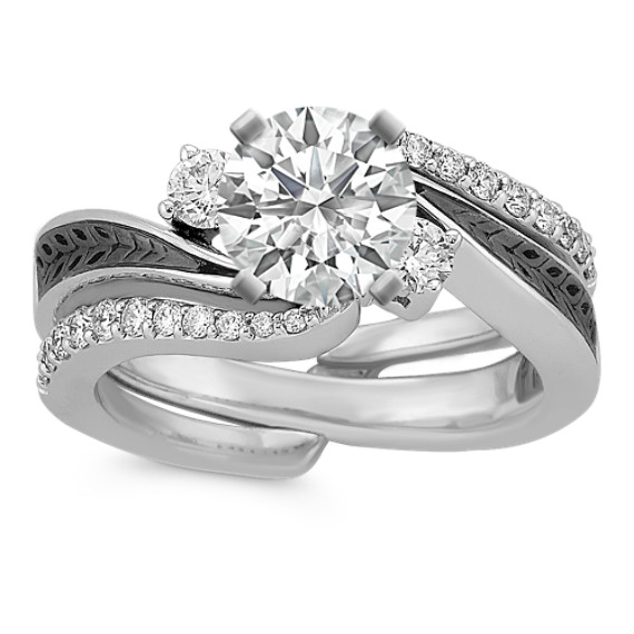 Diamond and Black Rhodium Wedding Set with Pave Setting