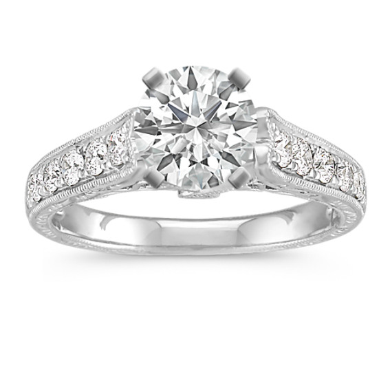 Vintage Cathedral Diamond Platinum Engagement Ring with Pave Setting