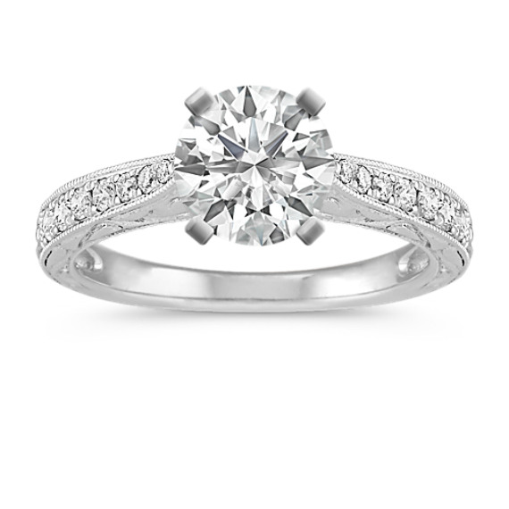 Vintage Cathedral 14k White Gold Engagement Ring with Engraving and Pave Setting