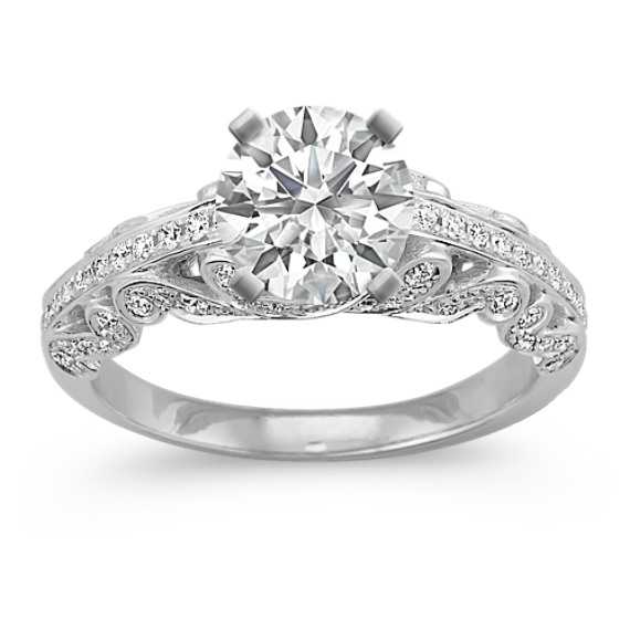 Round Diamond Vintage Engagement Ring with Pave Setting