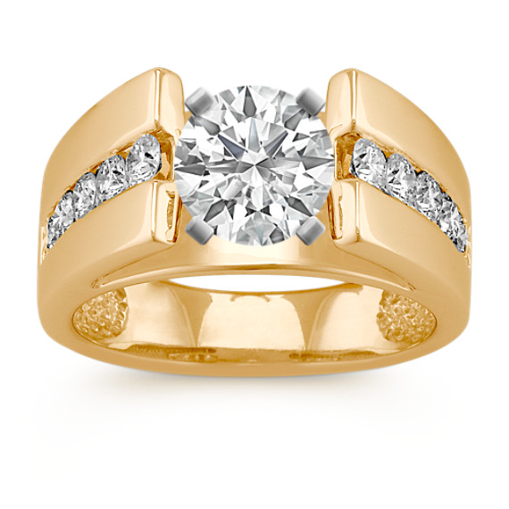 Round Diamond Classic Channel Set Engagement Ring in 14k Yellow Gold