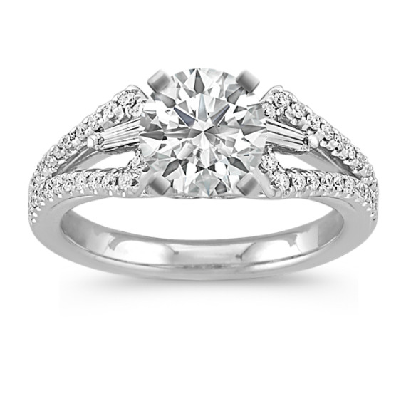 Baguette and Round Diamond Engagement Ring with Pave Setting