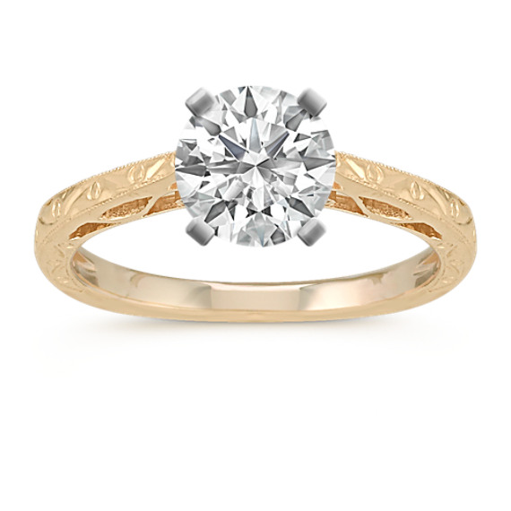 ae87543ac Swirl Engraved Cathedral Solitaire 14k Yellow Gold Engagement Ring ...