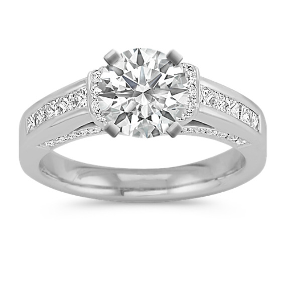 Princess Cut and Round Diamond Platinum Engagement Ring