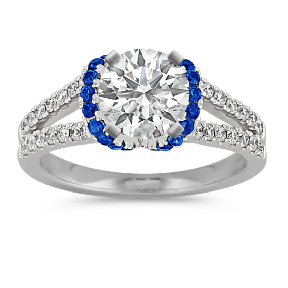 Round Sapphire and Diamond Engagement Ring with Pave Setting