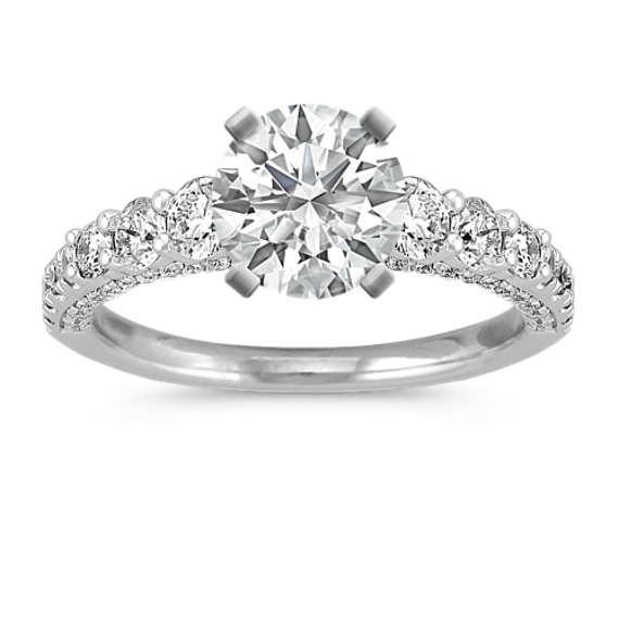 14k White Gold Engagement Ring with Pave-Setting