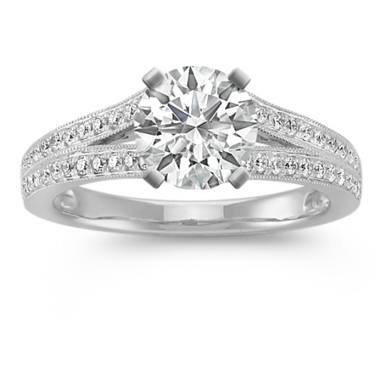 Split Shank Cathedral Diamond Platinum Engagement Ring with Pave Setting