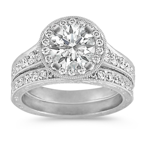Vintage Platinum Halo Diamond Engagement Ring with Pave Setting