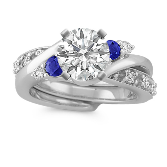 Swirl Round Sapphire and Diamond Wedding Set