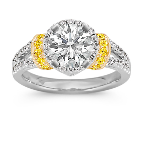 Halo Yellow Sapphire and Diamond Engagement Ring in 14k Two-Tone Gold