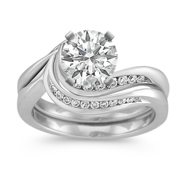 Diamond Swirl Wedding Set in Platinum with Channel-Setting