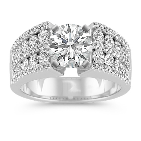 Round Diamond Engagement Ring with Pave and Channel-Setting