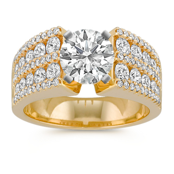 Cathedral Diamond Engagement Ring with Channel and Pave-Setting