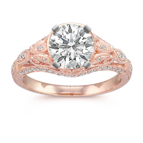 Vintage Diamond Engagement Ring in Rose Gold with Pave Setting