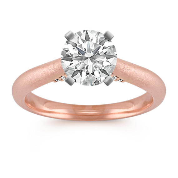 Round Diamond Cathedral Engagement Ring in 14k Rose and White Gold