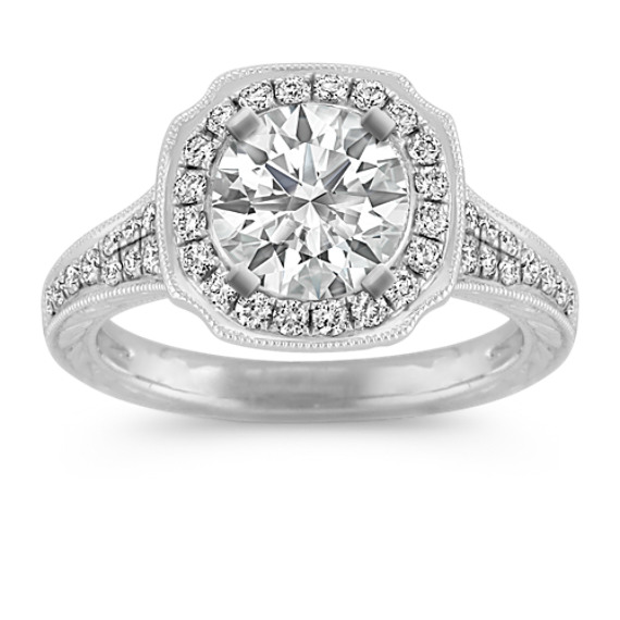 Halo Vintage Diamond Engagement Ring in Platinum with Pave-Setting