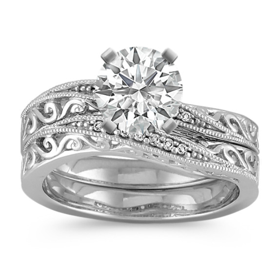 Vintage Diamond Curved Wedding Set with Pave-Setting