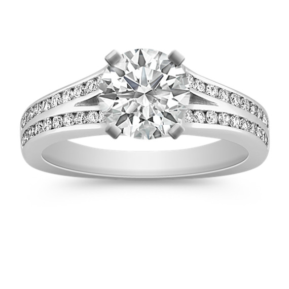 Cathedral Double Row Round Diamond Engagement Ring