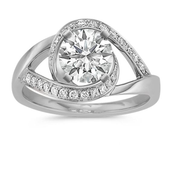 Under and Over Swirl Diamond Ring in 14k White Gold