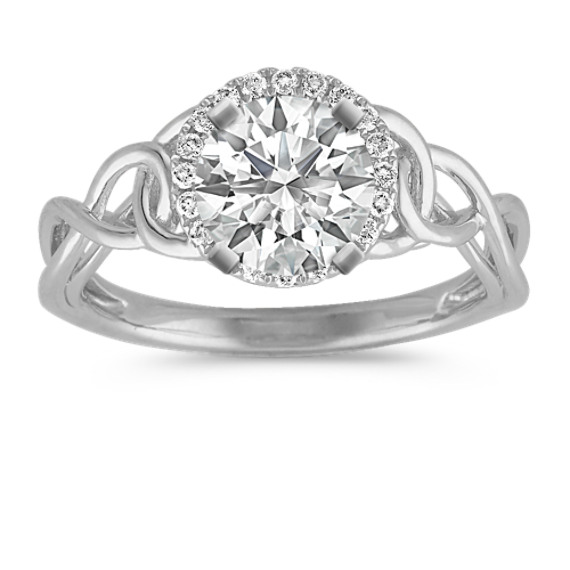 Halo Round Diamond Ring with Pave Setting