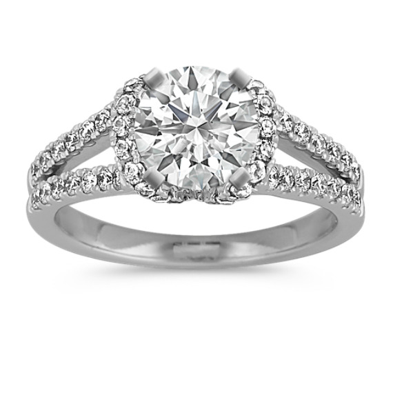 Diamond Engagement Ring with Pave Setting in Platinum
