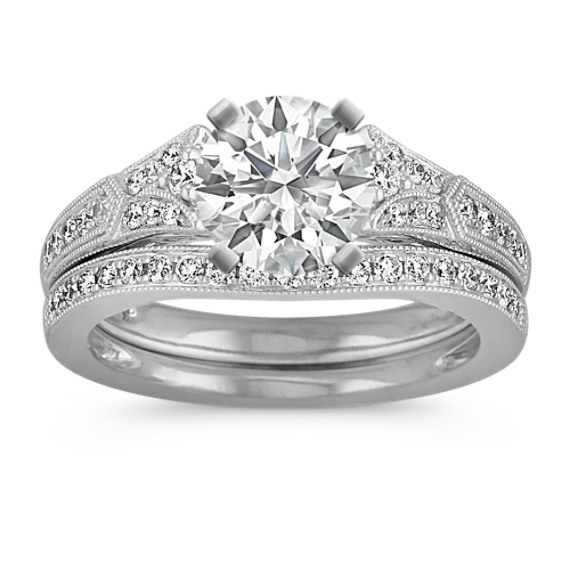 Vintage Cathedral Diamond Wedding Set with Pave-Setting