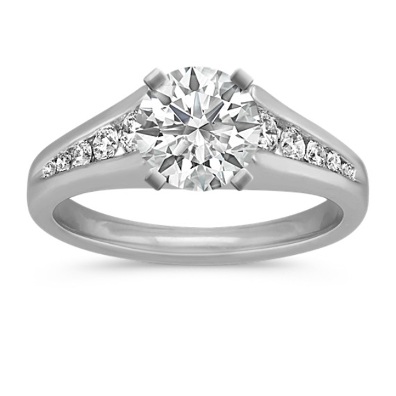 Classic Round Diamond Cathedral Platinum Engagement Ring