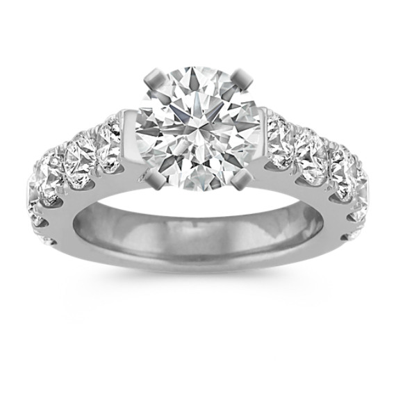 Classic Cathedral Engagement Ring with Pave Setting