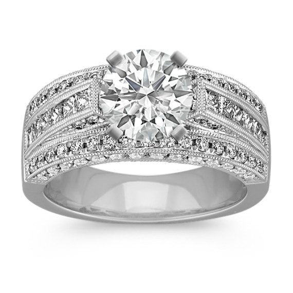 Vintage Cathedral Engagement Ring with Pave-Set Diamonds