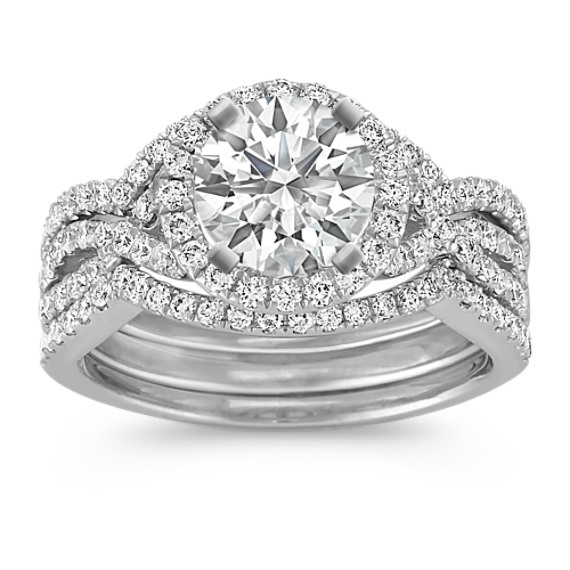 Halo Infinity Diamond Triple Band Wedding Set with Pave-Setting