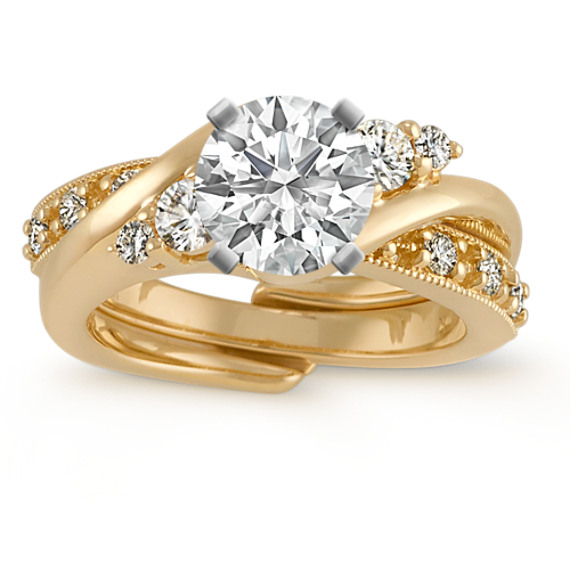 Round Diamond Swirl Wedding Set in 14k Yellow Gold