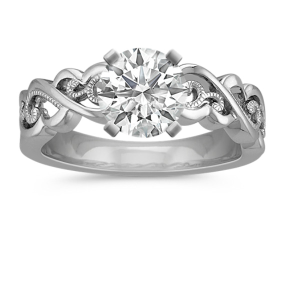 Vintage 14k White Gold Fashion Ring with Milgrain Detailing