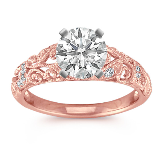 Vintage Diamond Engagement Ring with Pave Setting in Rose Gold