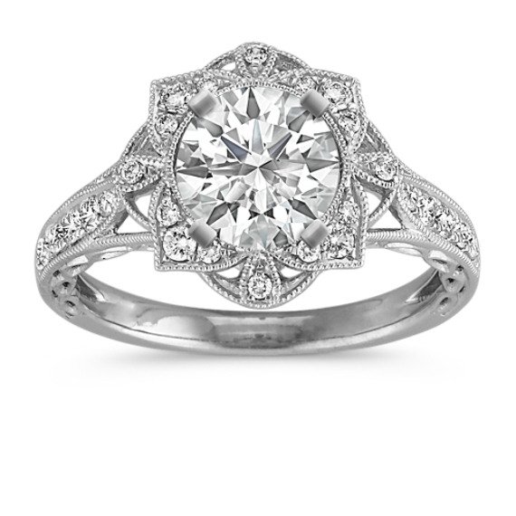 Vintage Diamond Floral Halo Engagement Ring with Pave Setting