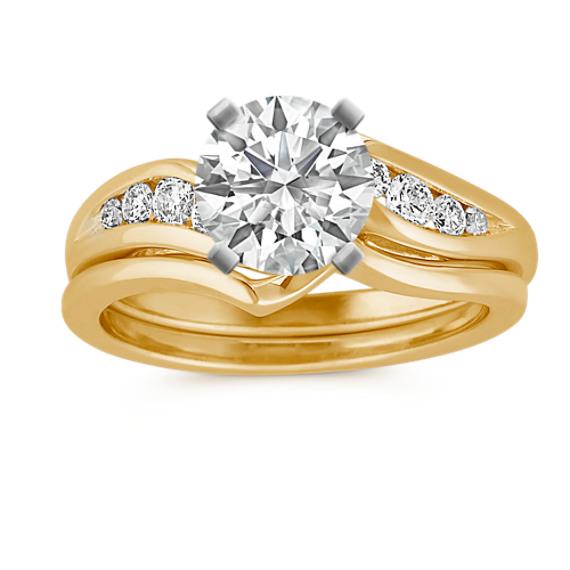 Round Diamond Swirl Wedding Set with Channel-Setting