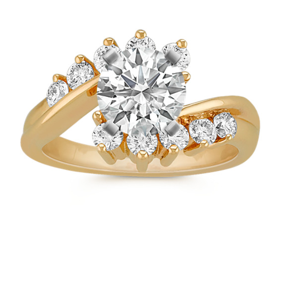Ten-Stone Swirl Diamond Engagement Ring
