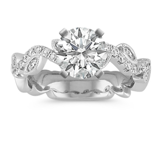 Swirl Marquise and Round Diamond Engagement Ring with Leaf Accents