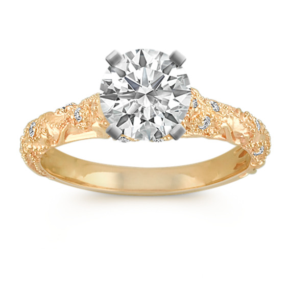 Vintage Diamond Engagement Ring with Pave-Setting in 14k Yellow Gold