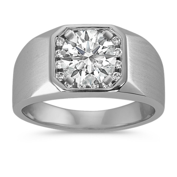 Channel-Set Round Diamond Men's Engagement Ring (11mm)