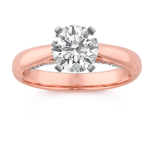 Cathedral Round Diamond Engagement Ring in 14k Rose Gold
