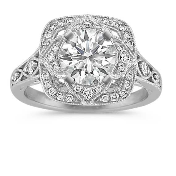 Vintage Halo Engagement Ring with Pave-Set Round Diamonds