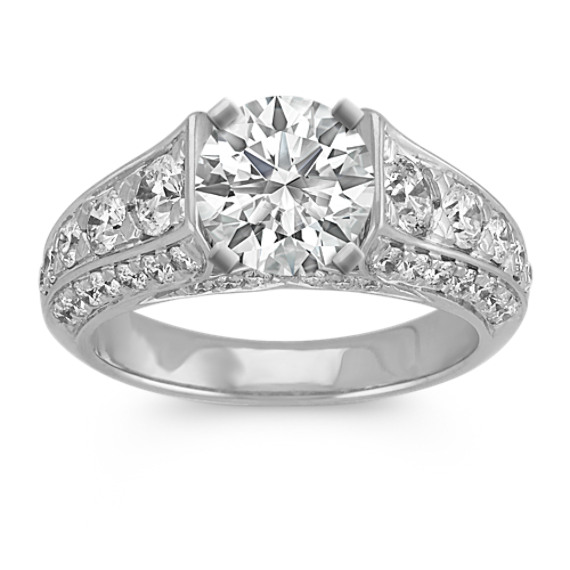 Round Diamond Classic Cathedral Engagement Ring in 14k White Gold