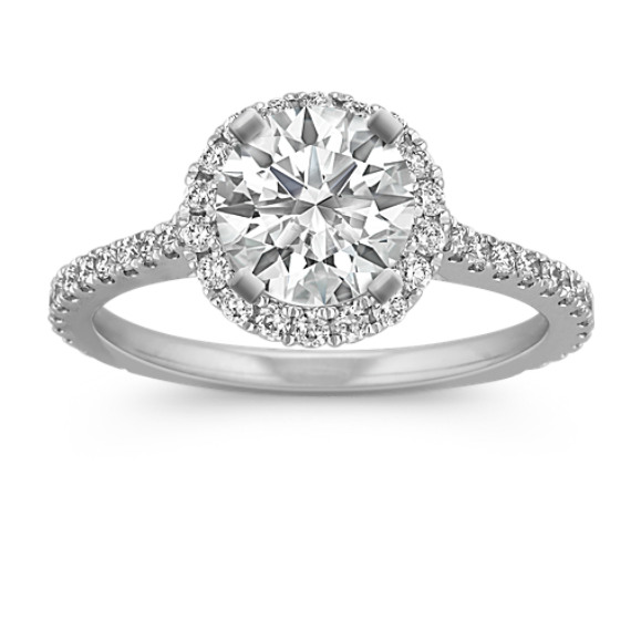 Halo Diamond Engagement Ring for 1.50 Carat Round