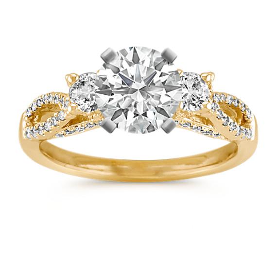 Three-Stone Swirl Diamond Engagement Ring in 14k Yellow Gold