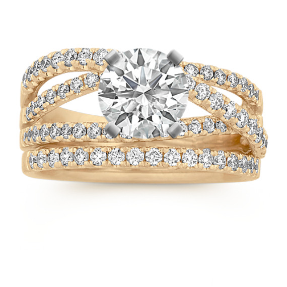Round Diamond Crossover Wedding Set in 14k Yellow Gold