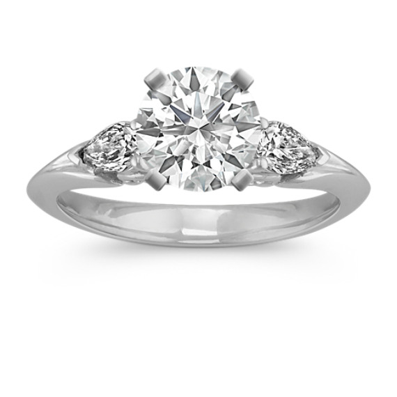 Pear-Shaped Diamond Three-Stone Engagement Ring in 14k White Gold